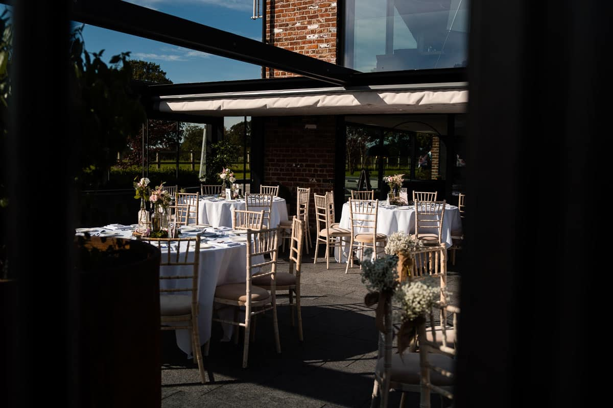 the colony hq with roof open and set for the wedding reception
