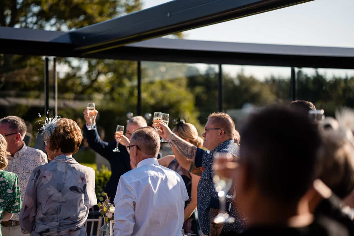 wedding guests raising a glass during the speeches